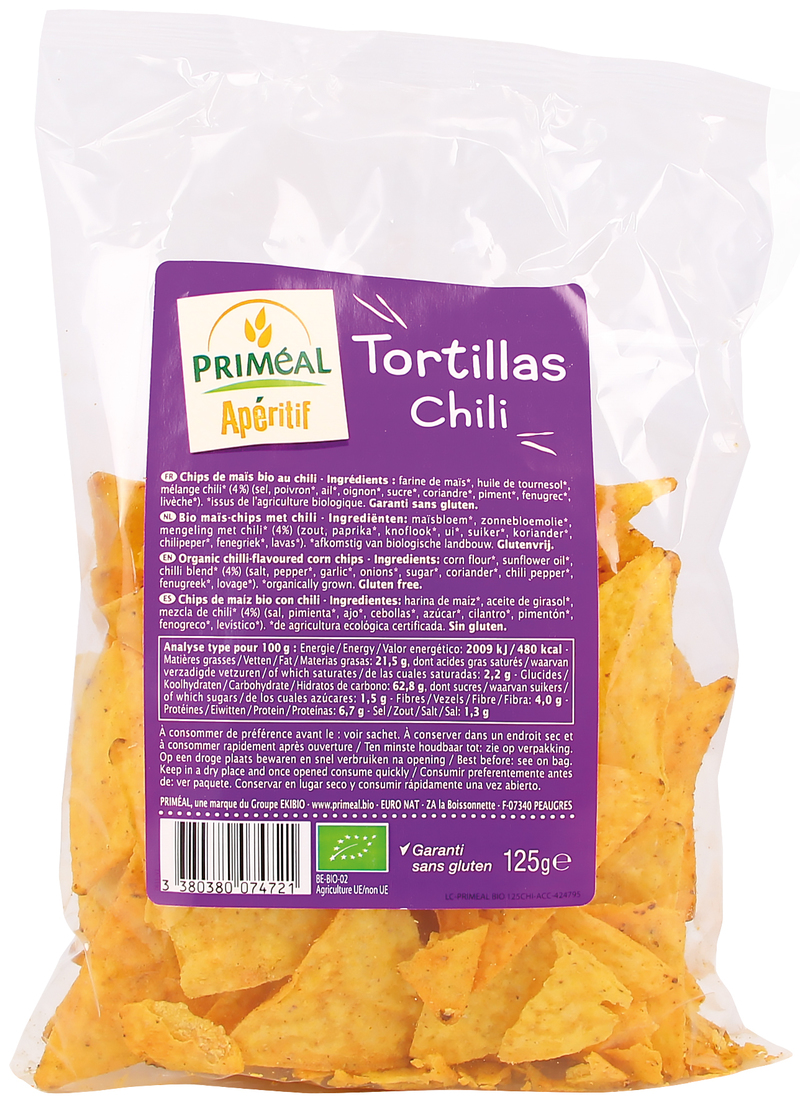 Tortillas chips chili 125g